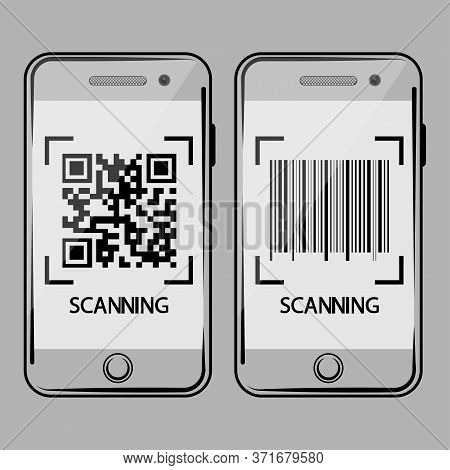 Smartphone Scan Qr Code And Barcode. Qr Code And Barcode Scanning Icon On Mobile Phone Screen