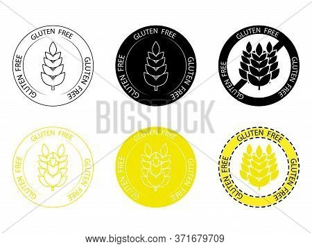 Gluten Free Vector Icon. No Gluten Stamp. Sign With Wheat Inside And With Lettering Gluten Free Arou