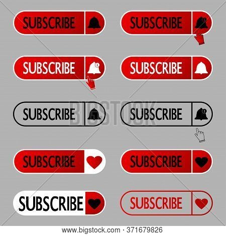 Subscribe Button. Set Of Subscribing Icons With Bell And With Like Symbols. Icons For Social Media A