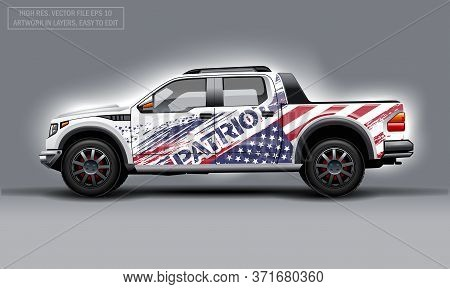 Editable Template For Wrap Suv With Usa Flag Decal. Hi-res Vector Graphics