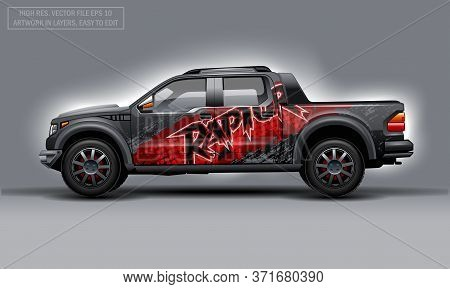 Editable Template For Wrap Suv With Abstract Raptor Text Decal. Hi-res Vector Graphics