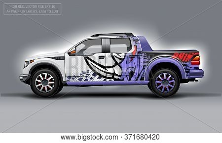 Editable Template For Wrap Suv With Abstract Rhino Decal. Hi-res Vector Graphics