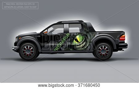 Editable Template For Wrap Suv With Scary Eye And Predator Text Decal. Hi-res Vector Graphics