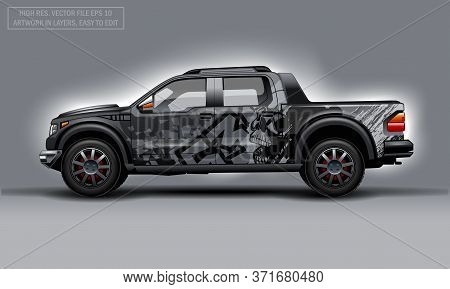 Editable Template For Wrap Suv With Skull Abstract Decal. Hi-res Vector Graphics