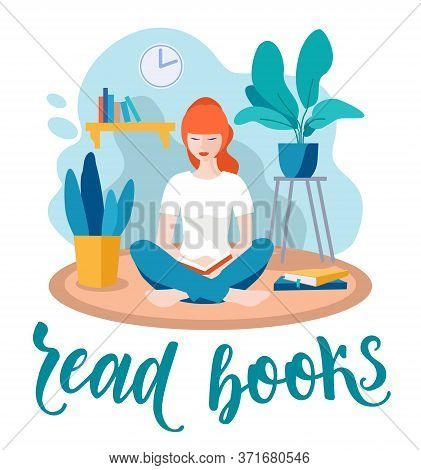 Girl Read Book. Home Activities Letterings And Other Elements. Girl Reading A Book In Greenhouse Or