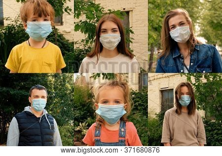 Happy Positive People Collage, Young Women, Man And Kids On Protective Medical Mask From Face, Smili