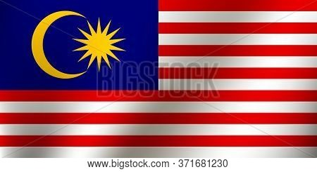 Malaysian Flag Symbol. Waving Flag Of Malaysia For Celebration Hari Merdeka . Decorative Design Elem