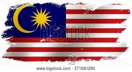 Grunge Brush Stroke With Malaysia National Flag. Waving Flag Of Malaysia For Celebration Hari Merdek