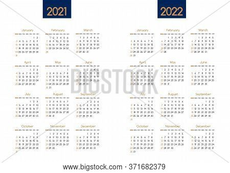Calendar New Year 2021 And 2022 Vector Planner Template With Modern Simple Navy Blue And Gold Clean