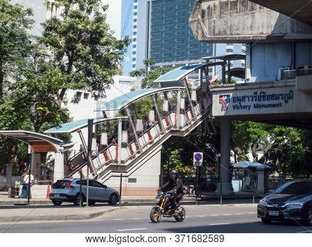 Bts Station Victory Monument Bangkok Thailand-30 October 2018;is A Sky Train Station Elevated Over P