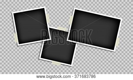 Empty Photo Frame Glued With Transparent Adhesive Tape. Black Blank Space For Text Or Photo. Realist