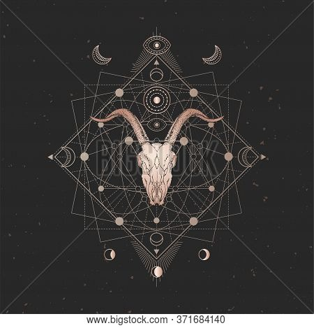 Vector Illustration With Hand Drawn Goat Skull And Sacred Geometric Symbol On Black Vintage Backgrou