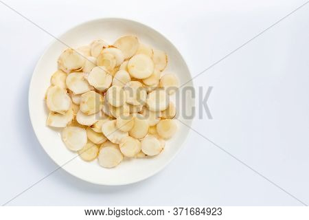 Fresh Galangal Isolated On A White Background.