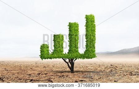 Green Plant In Shape Of Growth Financial Graph In Desert. Business Analytics And Statistics. Friendl