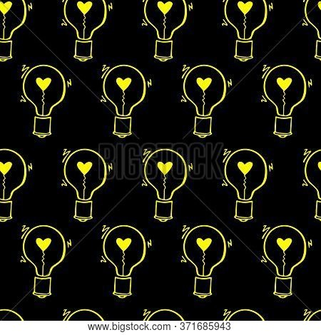 Light Bulb With Heart Seamless Vector Pattern. Hand Drawn Doodle Outline Bulbs On Black Background.