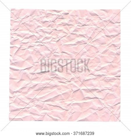 Crumpled Pink Paper. Background For Greetings, Invitations. Item For Scene Creator And Other Design.