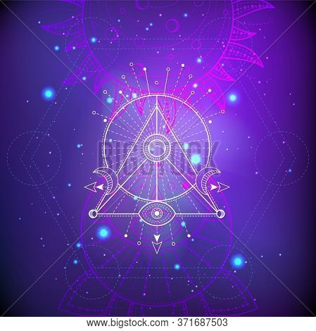 Vector Illustration Of Mystic Symbol Lotus On Abstract Background. Geometric Sign Drawn In Lines. Pu