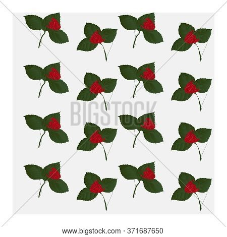 Seamless Pattern With Red Strawberry Leaves. Ripe Red Strawberries With Green Leaves. Berry Pattern.