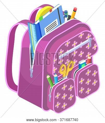Violet Schoolbags With Stationery Inside. School Stuff For Study Like Pencil And Pen, Ruler And Scis