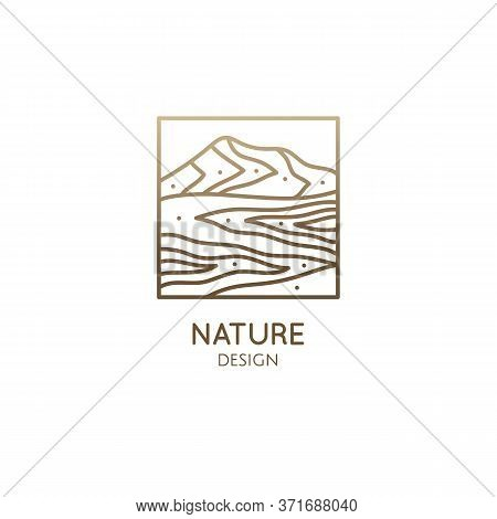 Mountain Minimalistic Logo. Rectangular Linear Icon Of Landscape - Mountains And River. Vector Abstr