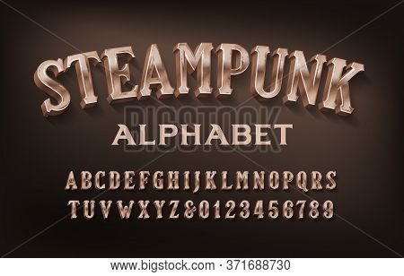 Steampunk Alphabet Font. 3d Retro Brass Letters And Numbers. Stock Vector Typescript For Your Design