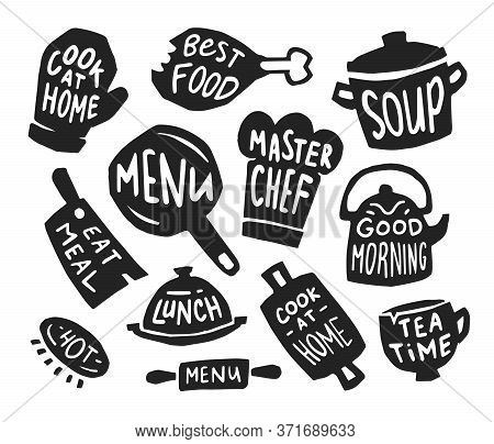 Restaurant And Bistro Flat Icon Set. Menu Stickers, Pot With Text, And Food Logo Emblems Vector Illu