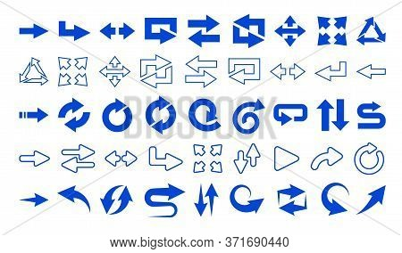 Web Arrows Flat Icon Set. Blue Web Interface Different Arrows And User Pointers For Web Pages And Mo