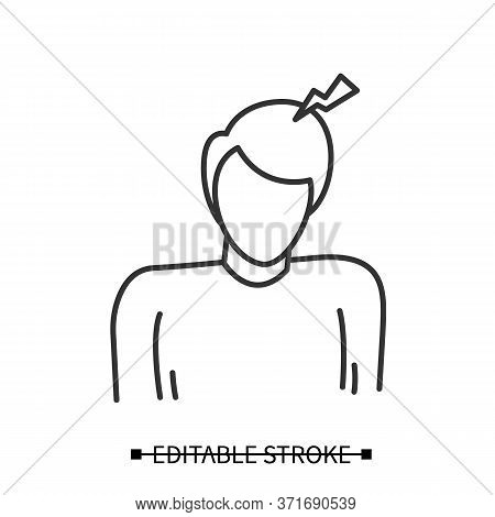 Headache Icon. Person With Small Thunderclap Strike. Concept Linear Pictogram Of Low And Medium Inte