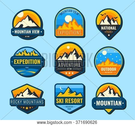 Snow Mountains Flat Labels Set. Hiking Emblems And Tourism Logo Vector Illustration Collection For D