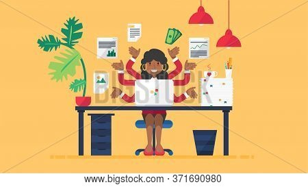 Happy African Female Seo Manager Busy At Work
