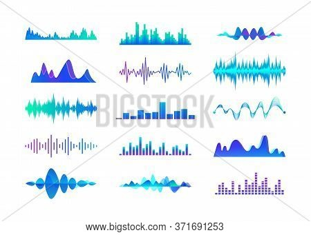 Colorful Sound Waves Set. Multicolor Audio Lines, Music Waveforms Vector Illustration Collection. So
