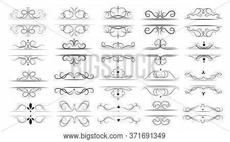 Calligraphic Dividers Set. Decorative Elegant Lines, Ornamental Swirls And Border Frames For Wedding