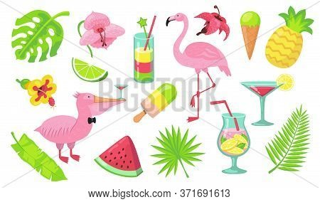 Summer Beach Party Elements Set. Tropical Cocktails, Caribbean Pink Flamingo, Hawaiian Fruits, Food