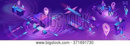 Isometric Delivery Service With Truck, Horizontal Banner, Smart Logistics Company Illustration, Arti