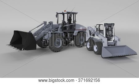 3D Render of a Front Loader Digger Isolated.