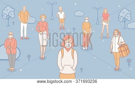 Group Of Unhappy People Wearing Protective Face Masks Because Of Air Pollution And Standing Outdoor