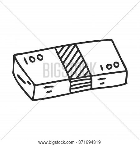 A Bundle Of Doodle-style Banknotes. A Stack Of Paper Bills. The Icon Is Hand-drawn And Isolated On A
