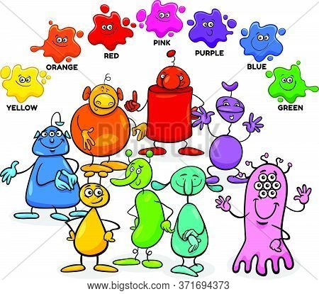 Educational Cartoon Illustration Of Basic Colors With Aliens Or Fantasy Characters Group