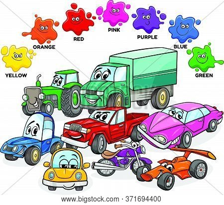 Educational Cartoon Illustration Of Basic Colors With Cars And Transport Characters Group
