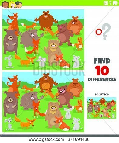 Cartoon Illustration Of Finding Differences Between Pictures Educational Game For Kids With Funny Wi