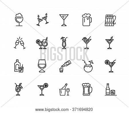 Alcohol Icons. Set Of Twenty Line Icons. Cocktail, Toast, Martini. Alcoholic Drinks Concept. Illustr