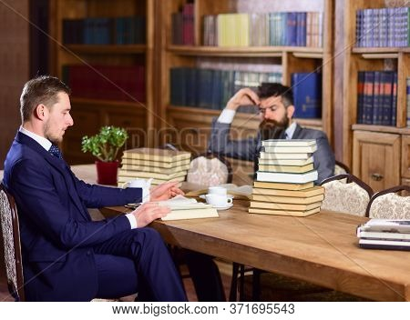 Men In Suits, Aristocrats, Professors In Library Or Vintage Interior
