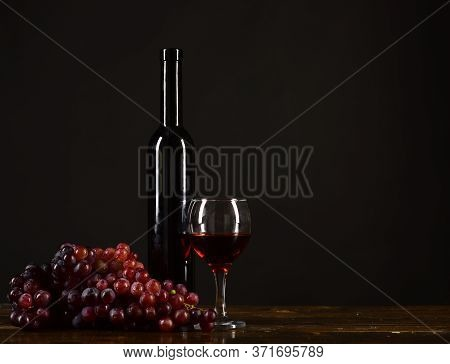 Winetasting And Degustation Still Life Concept. Bordeaux Or Cabernet Wine