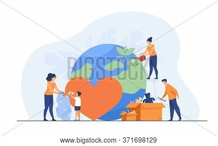 Social Team Helping Charity And Sharing Hope Flat Vector Illustration. Cartoon People Giving Humanit