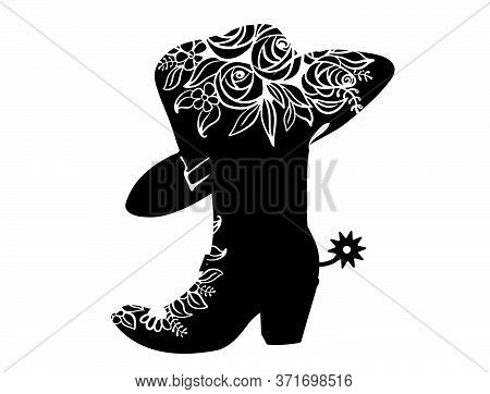 Cowboy Boot Black Silhouette For Text Or Decoration. Vector Cowgirl Party Printable Illustration Iso