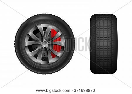 Car Wheel With Brake Gear.  Car Tires With Different Tread Marks. Vector Wheel Icon. Tire Shop, Tyre