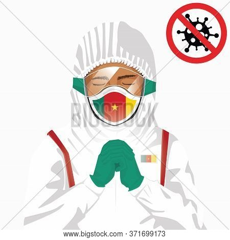 Covid-19 Or Coronavirus Concept. Cameroonian Medical Staff Wearing Mask In Protective Clothing And P