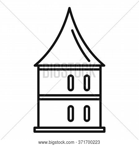 Castle Riga Tower Icon. Outline Castle Riga Tower Vector Icon For Web Design Isolated On White Backg
