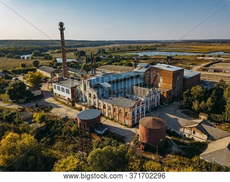 Old Abandoned Sadovsky Sugar Factory In Voronezh Region, Aerial View