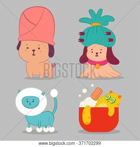 Pet Grooming Vector Concept Illustration With Cute Dog And Cat Characters Set Isolated On Background
